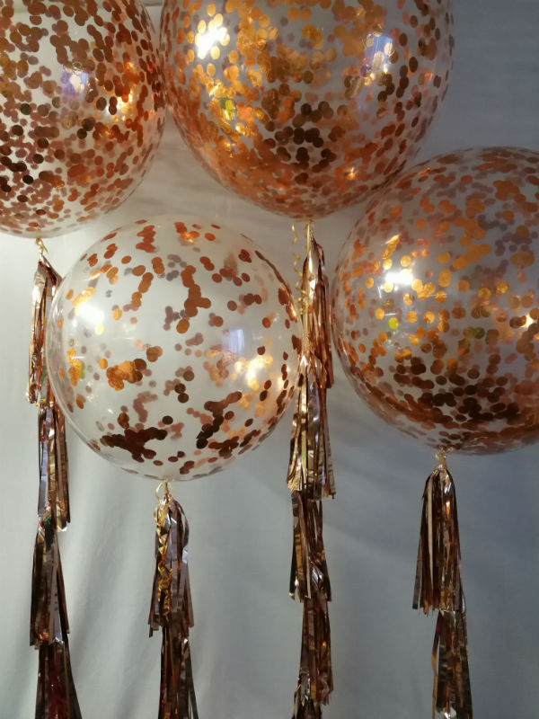 60cm Copper Confetti Balloons with Metallic Tassels