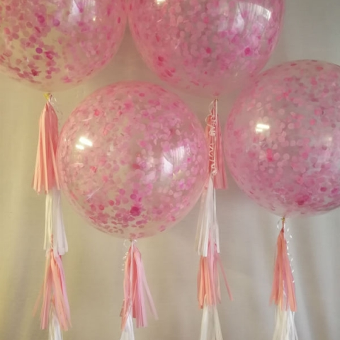 60cm Confetti Balloons with Tissue Tassels
