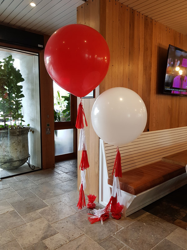 Red & White 60cm Balloons with Tassels