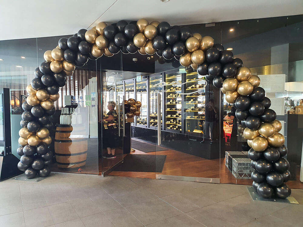 Black and Chrome Gold Balloon Arch