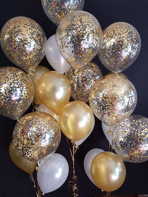 Gold Confetti Balloon Trees