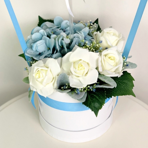 White and Blue Forever Roses